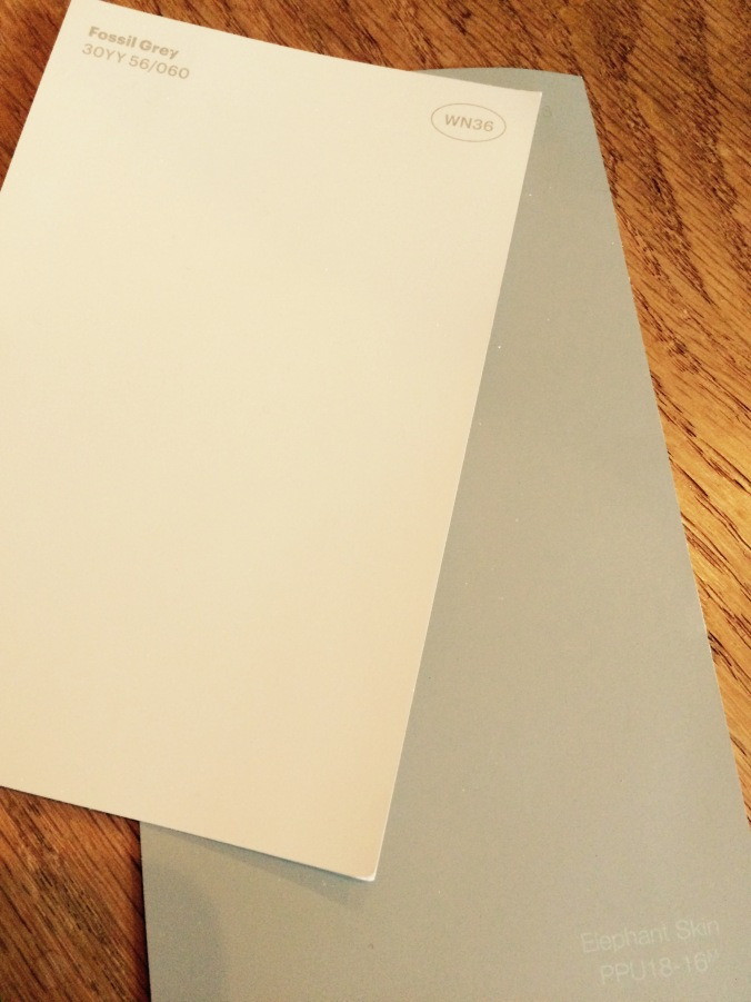 The lighter color is a Glidden color.  The darker is Behr.