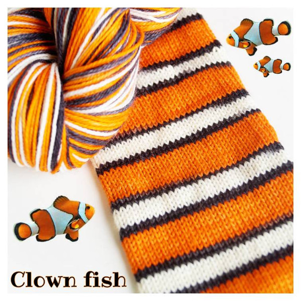 Clown fish colorway will become a pair of Dory socks!